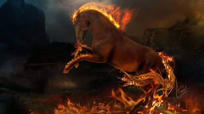 Широкоформатные обои Пламя, Танцующее пламя огня