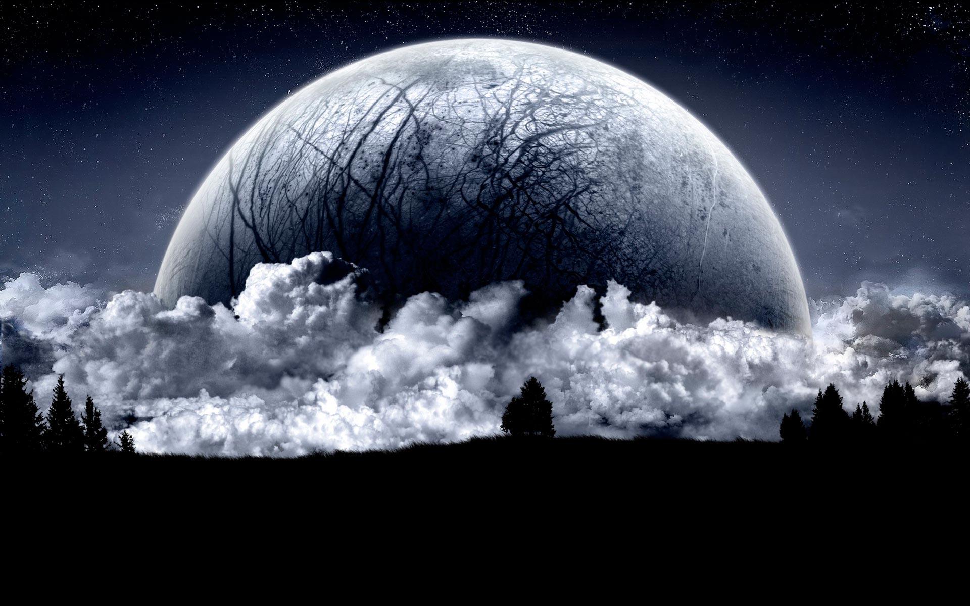 Широкоформатные обои планета в ночном