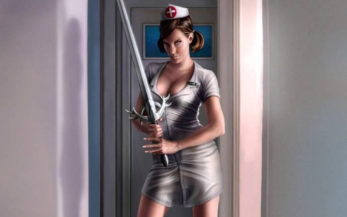 Девушка медсестра с мечом девушка с