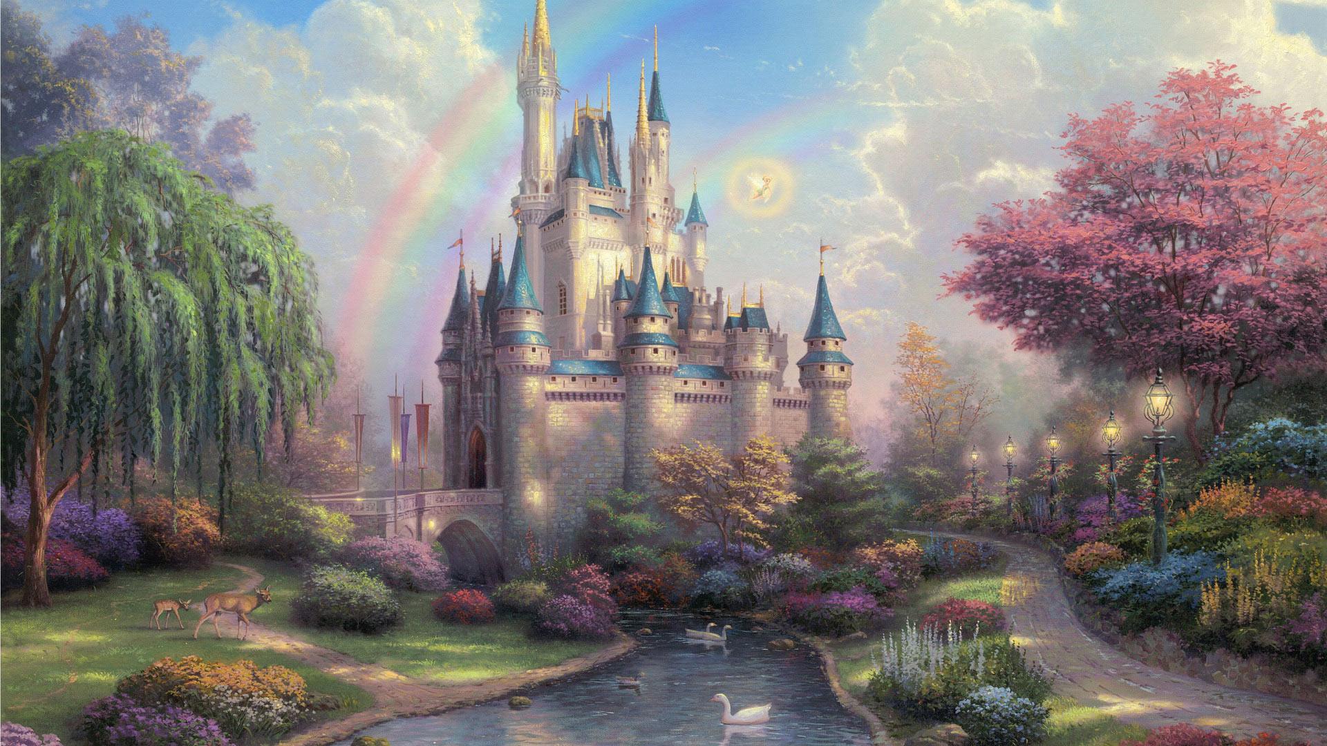 Замок из цветов обои
