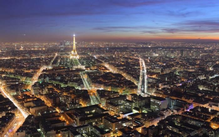 Обои париж ночью огни ночного парижа
